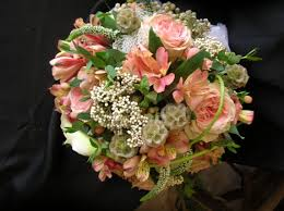 Wedding Flowers Ri Bridal Bouquet With Peach Roses Alstroemeria Berries White