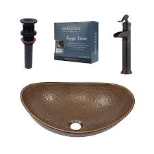 shop sinkology antique copper vessel oval bathroom sink with