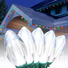 holiday time led c9 ultra bright light set green wire cool white