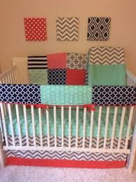 Navy And Coral Crib Bedding Navy Coral And Mint Ruffled Crib Bedding Set Deposit Nursery