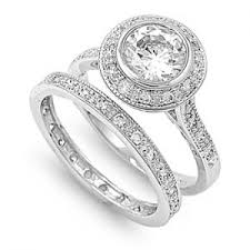 silver diamond rings halo 925 sterling silver simulated diamond engagement ring set