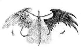 angel wing tattoo designs small sword heart with wings tattoo design