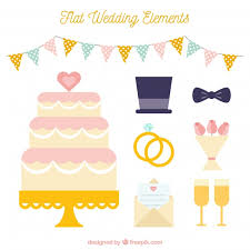 wedding cake with accessories in flat design vector free download