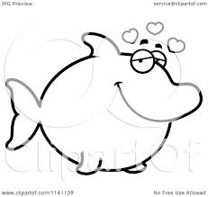 cartoon clipart of a black and white amorous dolphin in love