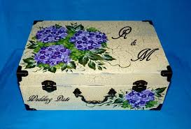 Keepsake Box Personalized Hand Painted Wedding Suitcase Card Box Wood Wedding Keepsake Box