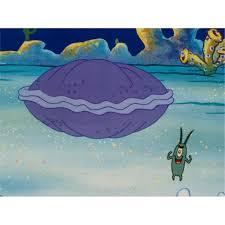 orig spongebob animation cel backgrnd plankton vs clam