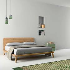 Double Bed Furniture Wood Double Bed Contemporary Lacquered Wood Oak Easy Dall
