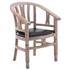 chaise en bois chaise en bois d cajou rustique avec siège en cuir 83 x 62 5 x 58
