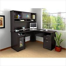 office furniture l shaped desk bush cabot l shaped computer desk with hutch in espresso oak