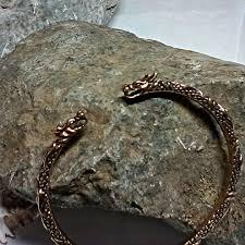 nordic viking dragon solid bronze cuff bracelet scandinavian