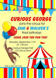 admit one ticket style curious george goes to circus birthday
