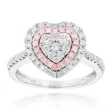 designer rings images designer rings unique white pink diamonds heart ring for women 14k