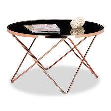 ventouse pour table basse en verre relaxdays table basse ronde copper en cuivre et verre noir table