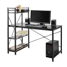 Home Office Desk With Storage by 4 Tier Shelving Computer Desk Student Pc Workstation Laptop Table