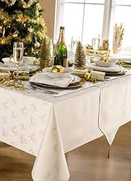 gold christmas table runner deer cream gold metallic effect christmas table runner with tassels
