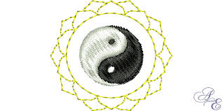 lotus yin yang line small of embroidery