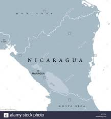 Central America Map Labeled by Nicaragua Political Map With Capital Managua National Borders And