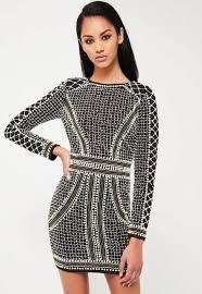 embellished dress peace black embellished sleeve dress missguided