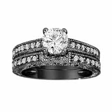 wedding band sets for diamond engagement ring and wedding band sets 14k black gold 0 76