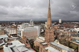coventry in west midlands england old town aerial view from