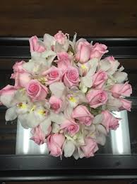 white orchids 2 doz soft pink roses and white orchids in westlake ca