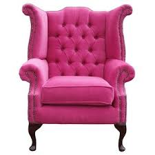 Queen Anne Wingback Chair Chesterfield Fabric Queen Anne High Back Wing Chair Pink Polyvore