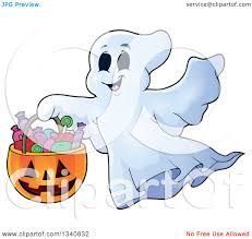 happy halloween pumpkin clipart clipart of a cartoon happy halloween ghost with a pumpkin basket