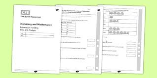 cfe first level assessment numeracy and mathematics information