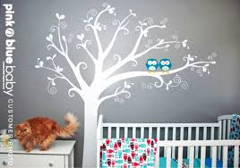 Wall Tree Decals For Nursery Owls Lovely Tree Nursery Wall Decal Pinknbluebaby On Artfire