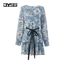 jyss autumn prairie chic country style floral printed dresses for