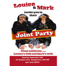 personalised joint birthday party invitations cheeky chimps
