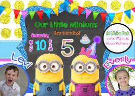 minion birthday party invites minion twins birthday party invitation invite twin minions