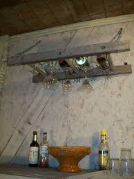 old wooden ladder wine racks wall ceiling mount