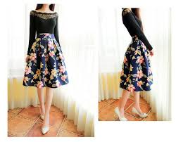 knee length skirt women s floral printed knee length lace slim pleated a