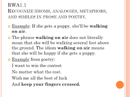 rwa 1 1 recognize idioms analogies metaphors and similes in