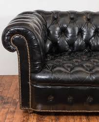 Black Leather Chesterfield Sofa Midcentury Chesterfield Sofa In Tufted Black Leather At 1stdibs