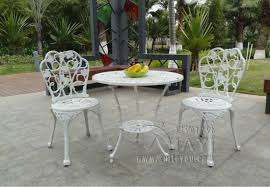 White Metal Patio Chairs 3 Cast Aluminum Table And Chair Patio Furniture Garden