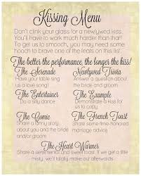 Wedding Wishes List The Kissing Menu Wedding Decorations By Steviwonderful On Etsy