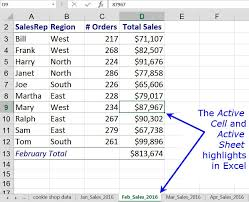 active cell active sheet definition and use in excel