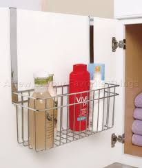 Kitchen Cabinet Door Storage by Chrome Over Cabinet Door Towel Bar With Basket Bathroom Organizer