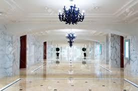 luxury hotel corridor interior with elegant decorations stock