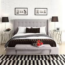 light grey upholstered bed marion grey linen nailhead wingback tufted upholstered bed bedroom