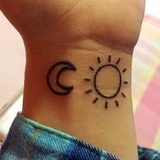 simple sun and moon tattoos on wrist tatuagem simple
