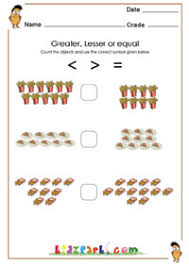 greater lesser signs worksheet for kindergarten 1st grade maths