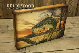Bass Fishing Home Decor | evening bass fishing wall art