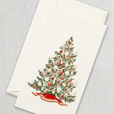 hand engraved christmas tree gift enclosure cards