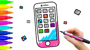 color mobile phone coloring book and drawing for kids learning