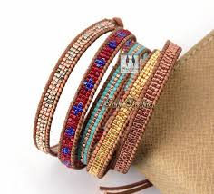 beaded woven bracelet images Exclusive stone coral with selected glass beads wrap bracelets jpg