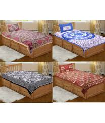 Cotton Single Bed Sheets Online India Grj India Pure Cotton Rajasthani Print 4 Single Bed Sheet With 4