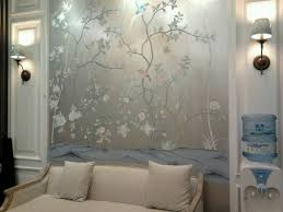 classic style luxurious hand painted silver foil wallpaper